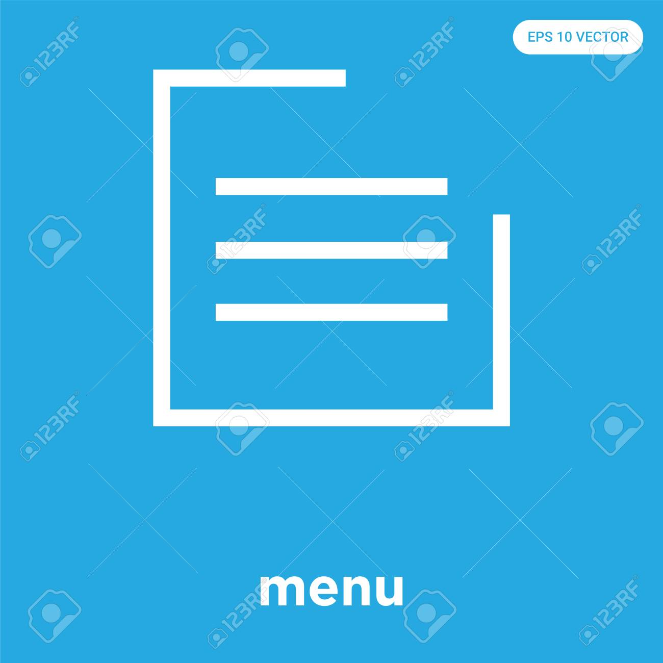 menu vector icon isolated on blue background, sign and symbol, menu icons collection - 114806103