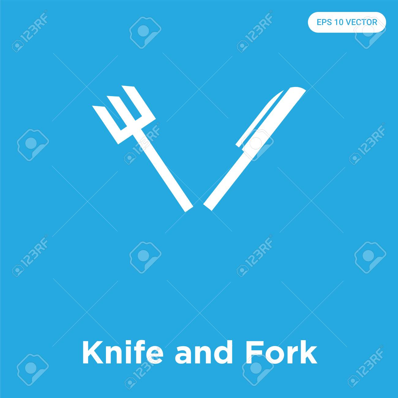 Knife and Fork vector icon isolated on blue background, sign and symbol, Knife and Fork icons collection - 114806110