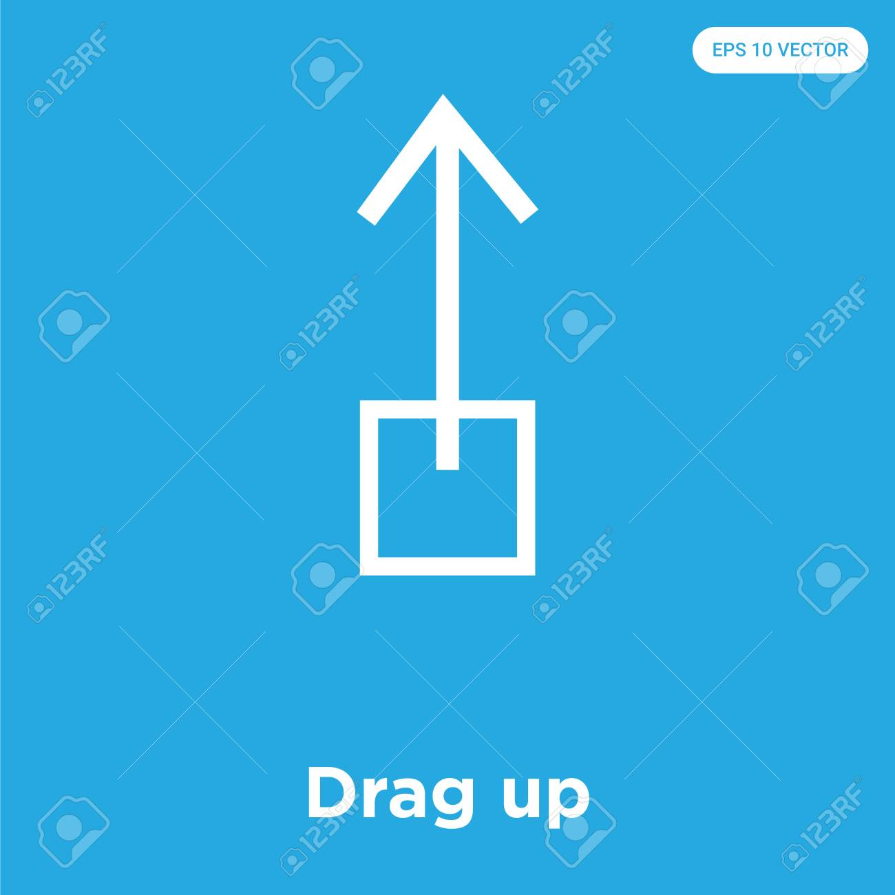 Drag up vector icon isolated on blue background, sign and symbol, Drag up icons collection - 114806111