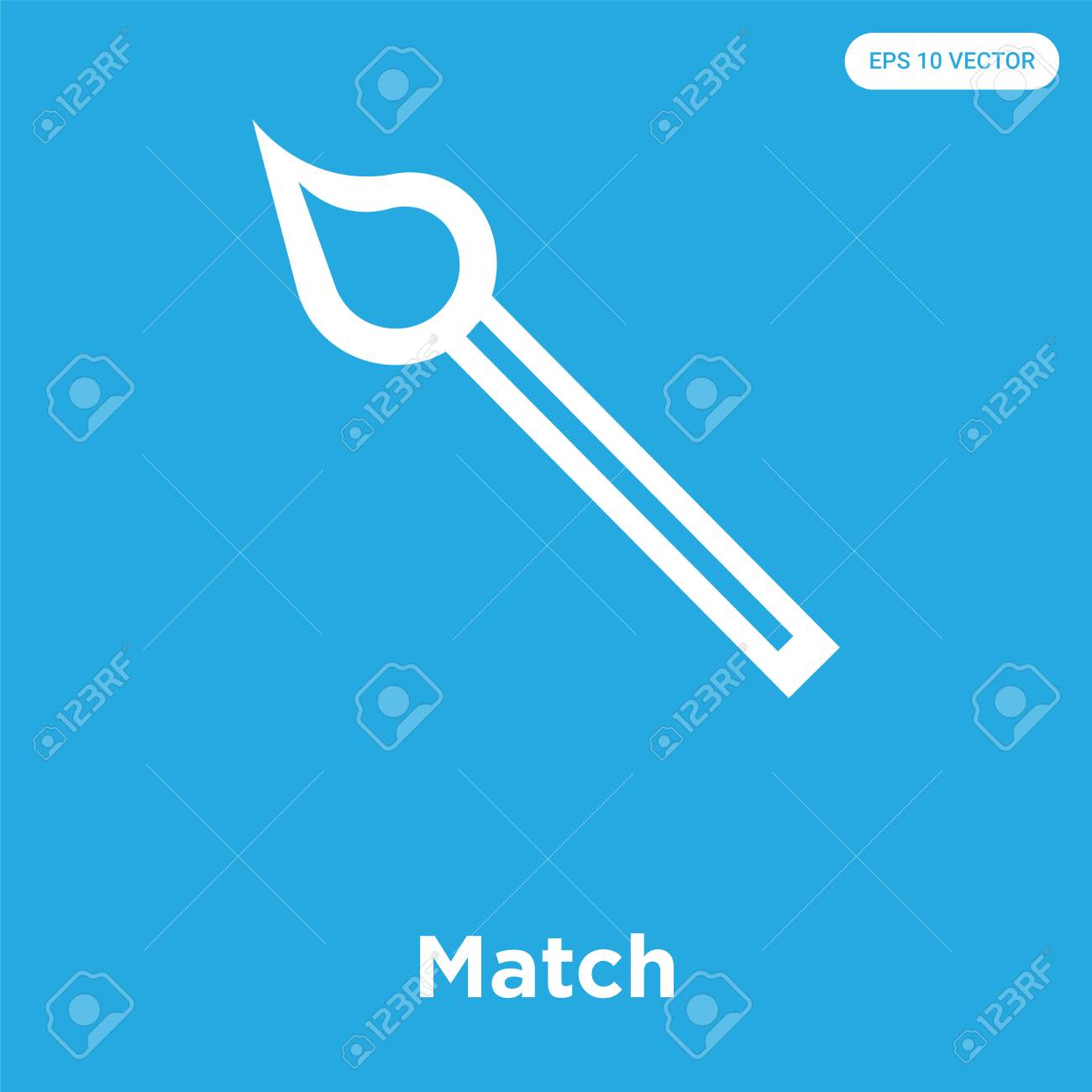 Match vector icon isolated on blue background, sign and symbol, Match icons collection - 114806112