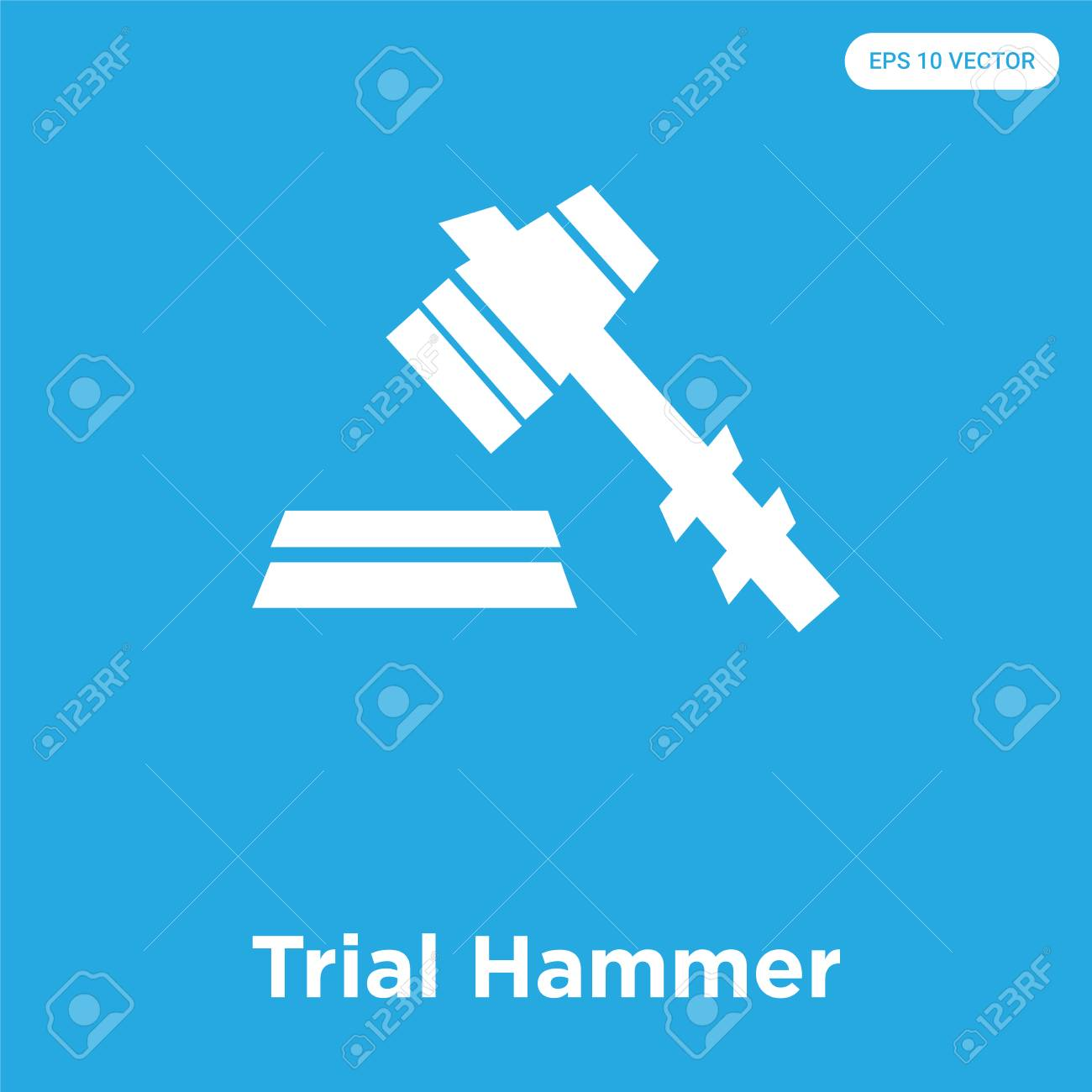 Trial Hammer vector icon isolated on blue background, sign and symbol, Trial Hammer icons collection - 114806120
