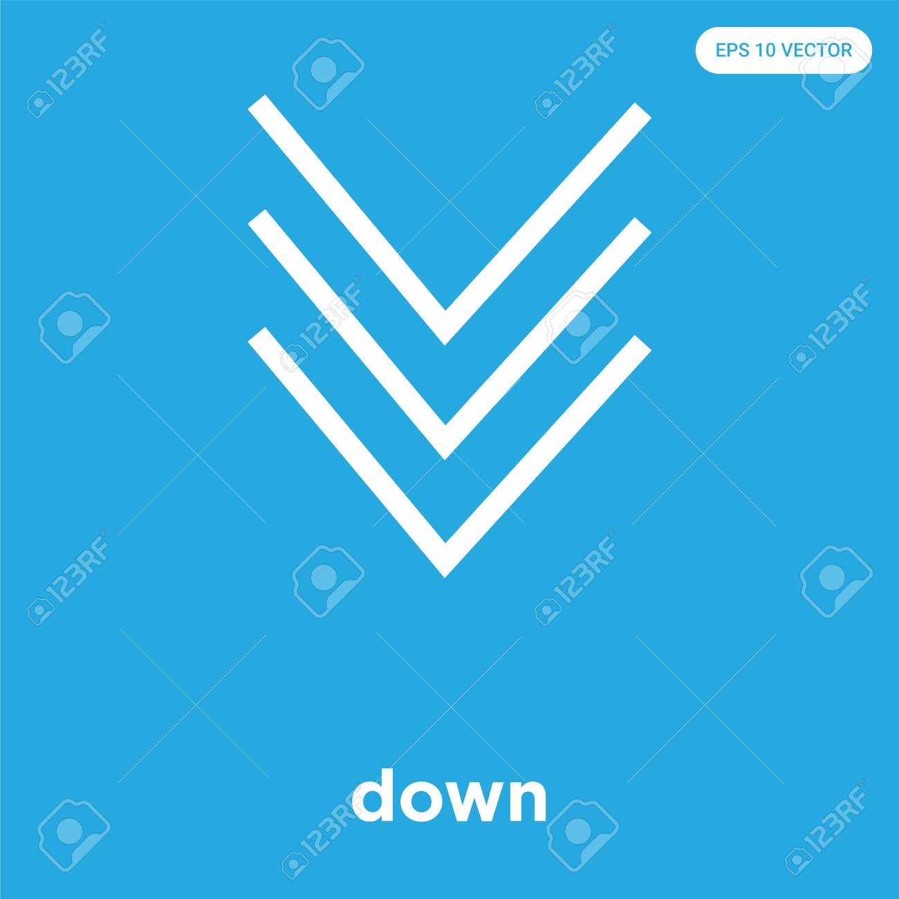 down vector icon isolated on blue background, sign and symbol, down icons collection - 114806121