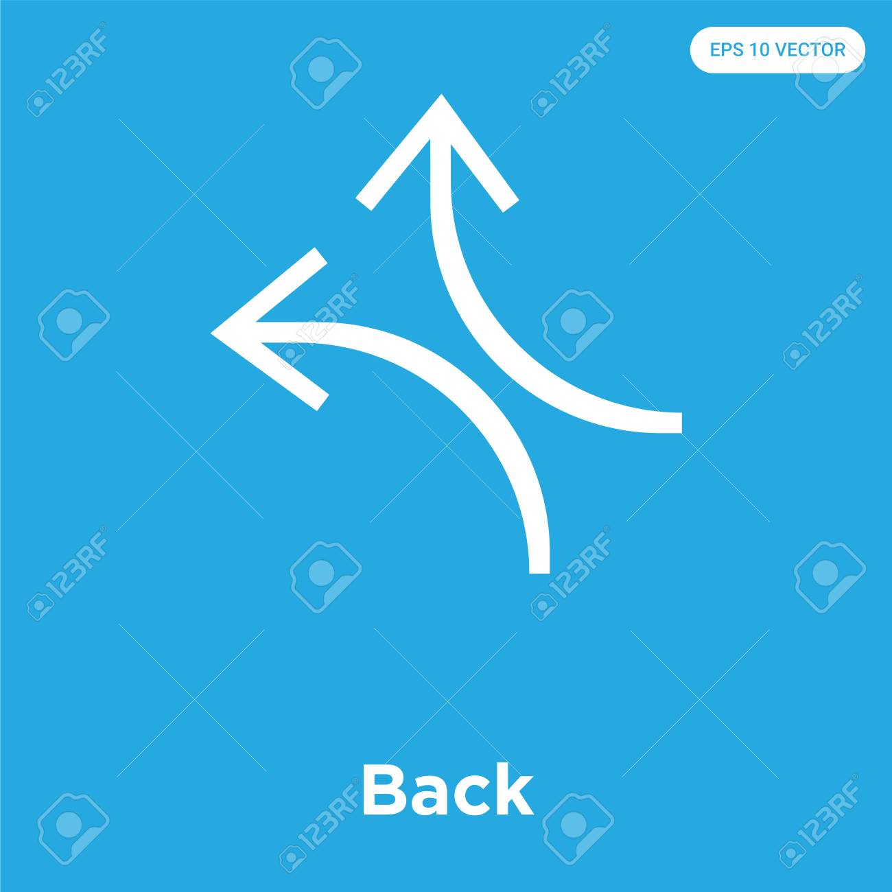 Back vector icon isolated on blue background, sign and symbol, Back icons collection - 114806122
