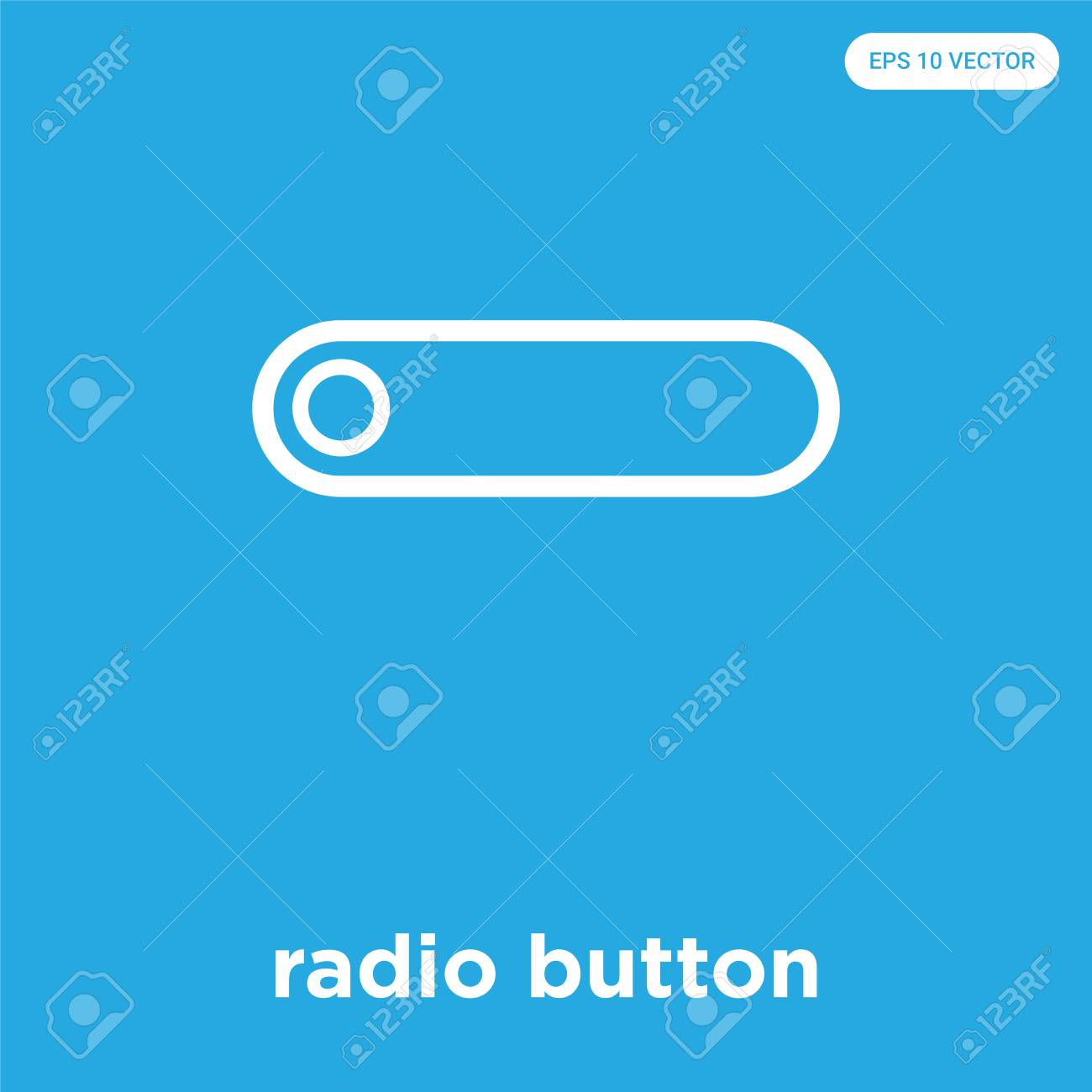 radio button vector icon isolated on blue background, sign and symbol, radio button icons collection - 114806124