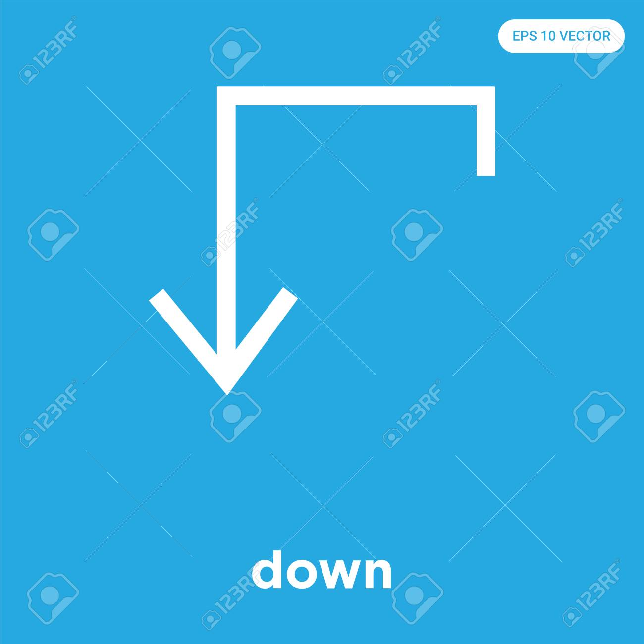 down vector icon isolated on blue background, sign and symbol, down icons collection - 114806125