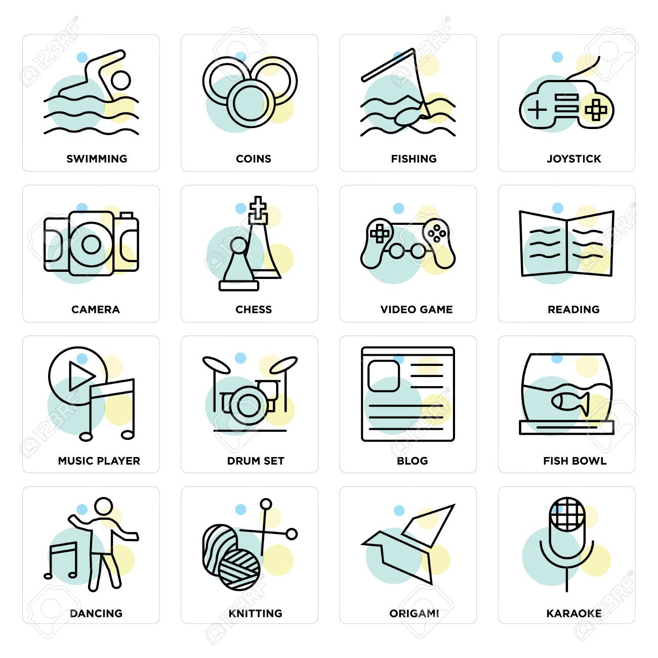 Set Of 16 icons such as Karaoke, Origami, Knitting, Dancing,