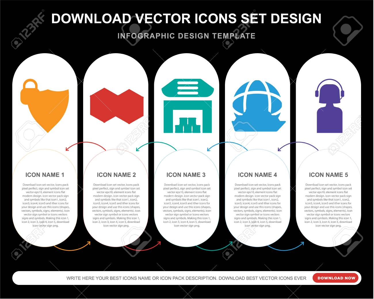 5 Vector Icons Such As Protection, Cube, Warehouse, Ship