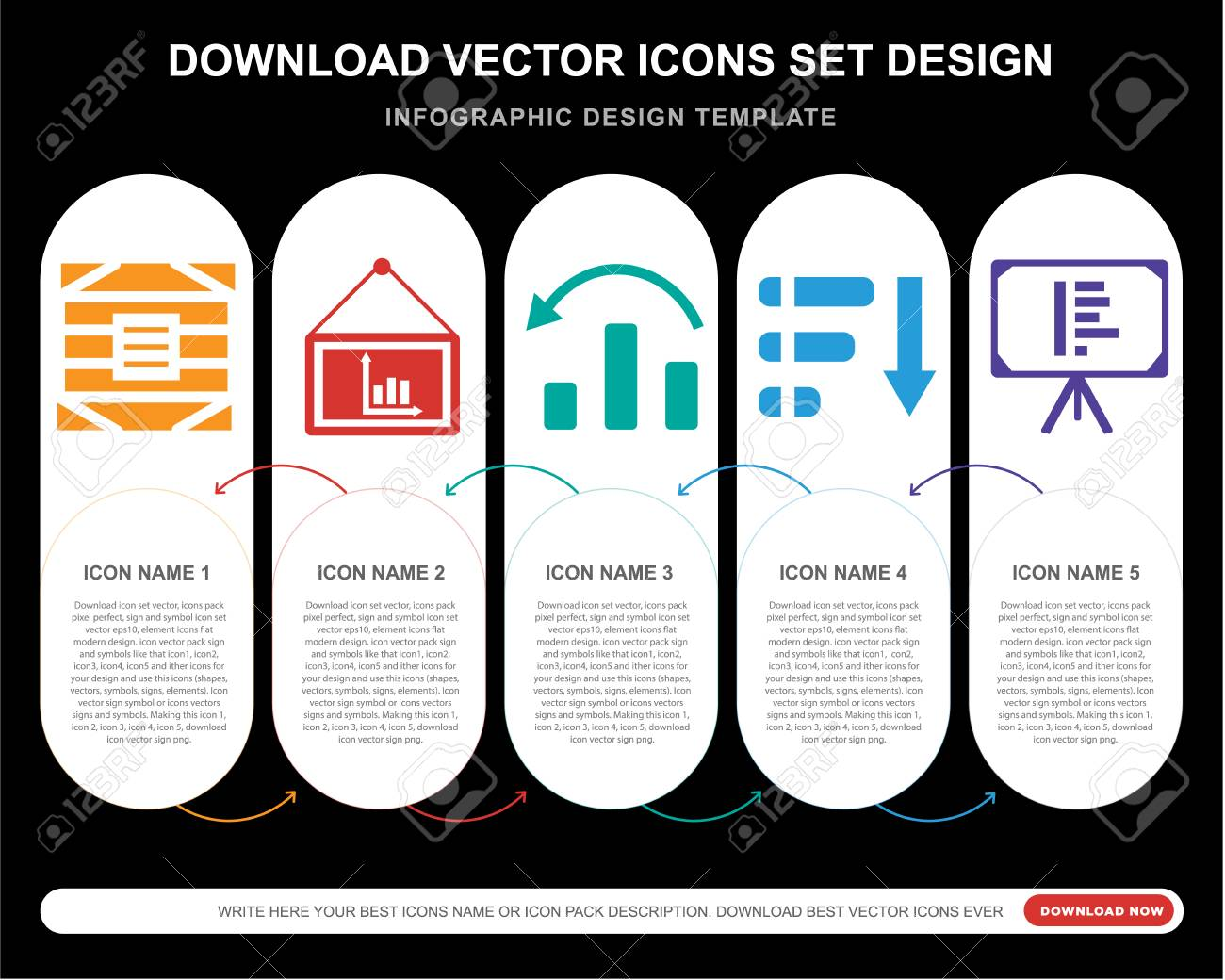 5 Vector Icons Such As Box, Pr...