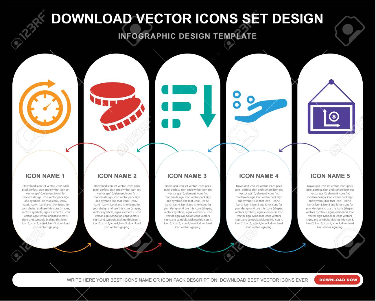 5 Vector Icons Such As Time Passing Coin Pie Chart Get Money