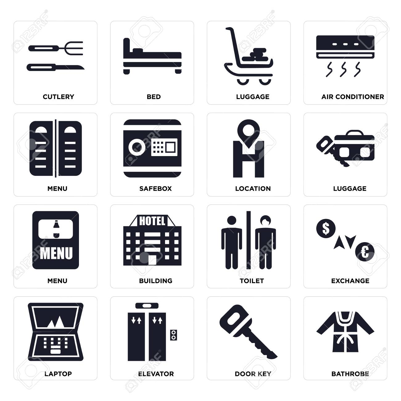 Set Of 16 icons such as Bathrobe, Door key, Elevator, Laptop, Exchange, Cutlery, Menu, Location on transparent background, pixel perfect - 116184579