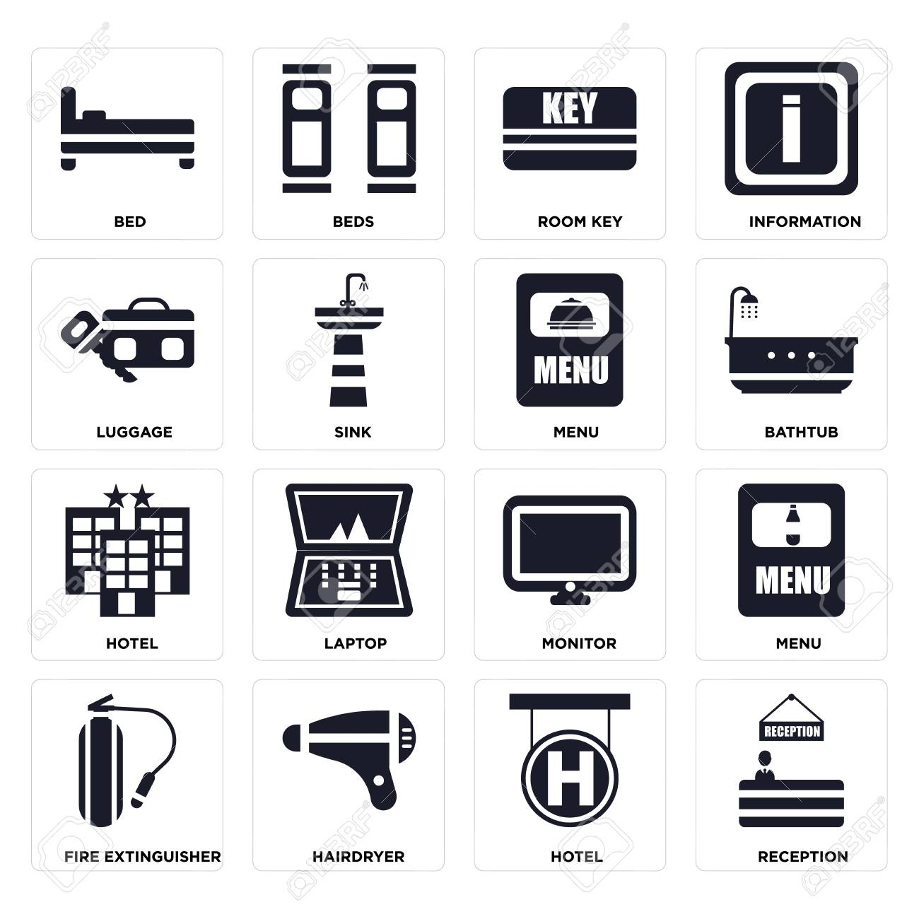 Set Of 16 icons such as Reception, Hotel, Hairdryer, Fire extinguisher, Menu, Bed, Luggage on transparent background, pixel perfect - 116184580