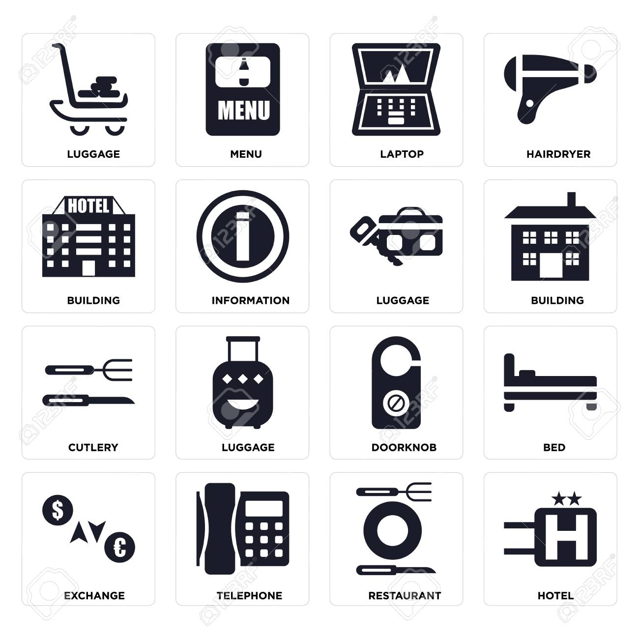 Set Of 16 icons such as Hotel, Restaurant, Telephone, Exchange, Bed, Luggage, Building, Cutlery on transparent background, pixel perfect - 116184581