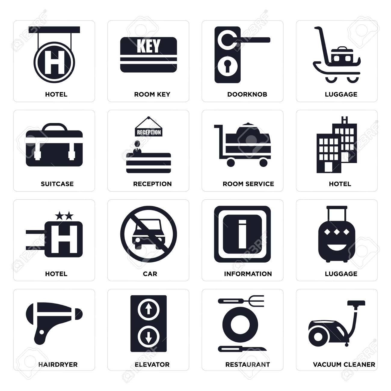 Set Of 16 Icons Such As Vacuum Cleaner Restaurant Elevator