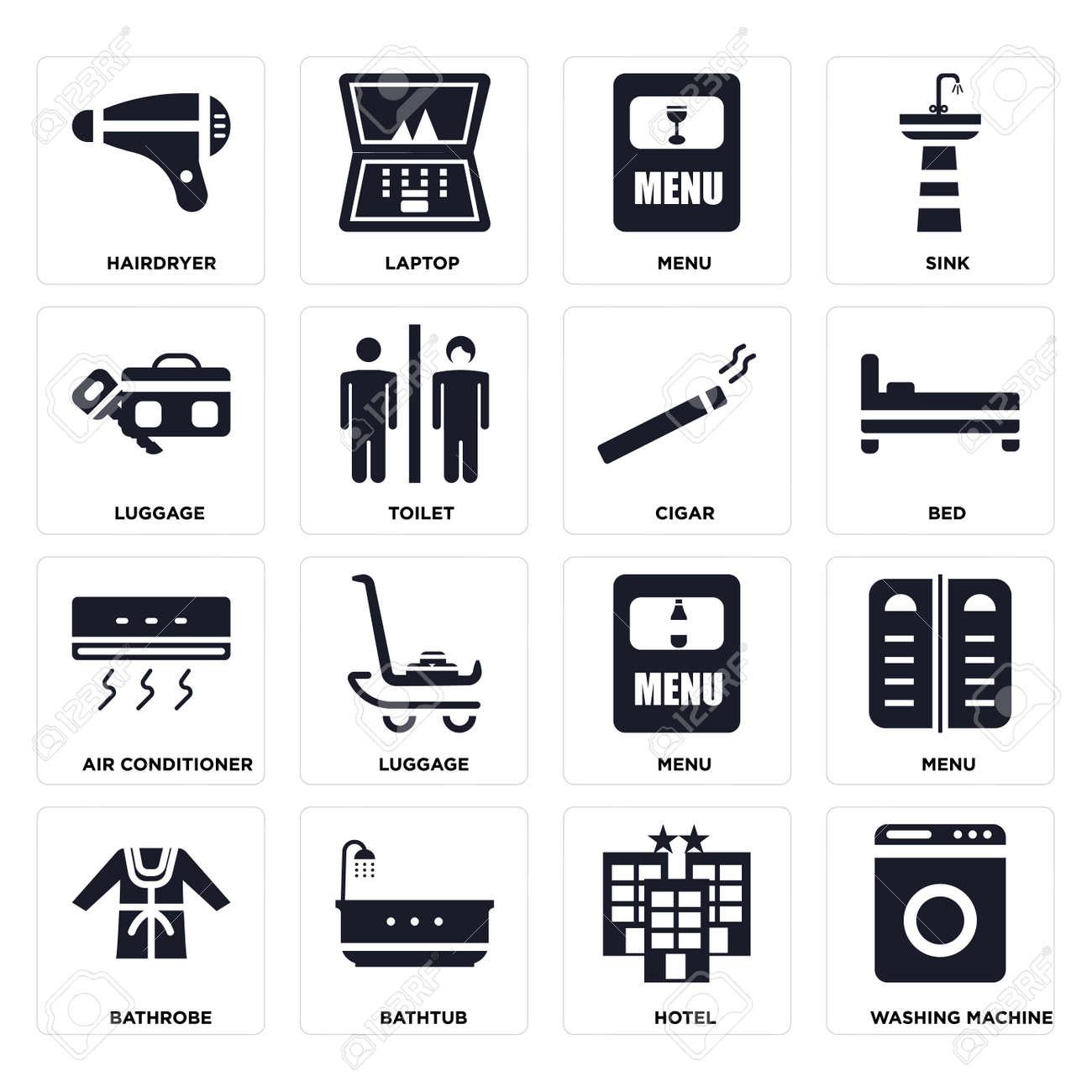 Set Of 16 icons such as Washing machine, Hotel, Bathtub, Bathrobe, Menu, Hairdryer, Luggage, Air conditioner, Cigar on transparent background, pixel perfect - 116184583