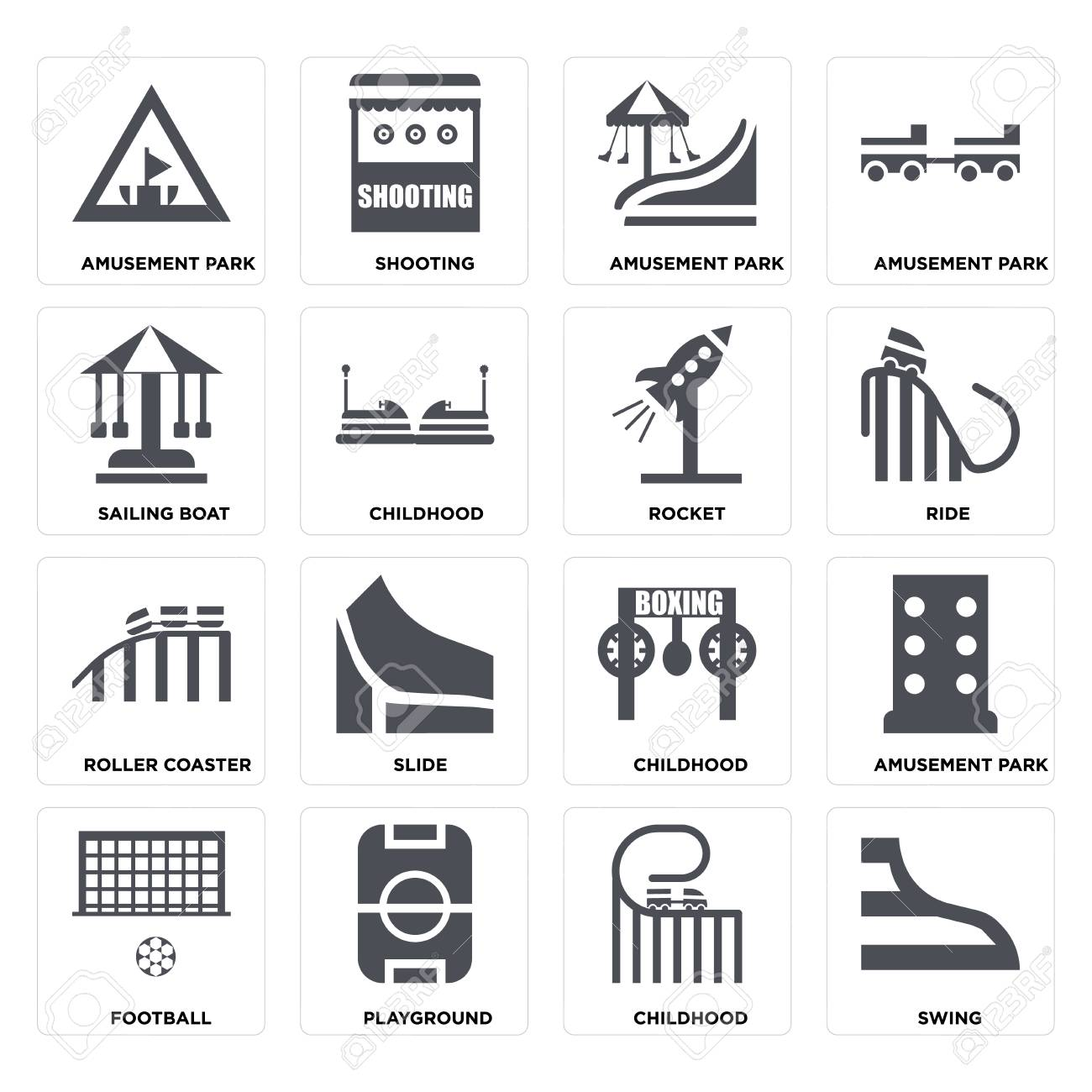 Set Of 16 icons such as Swing, Childhood, Playground, Football, Amusement park, Sailing boat, Roller coaster, Rocket on transparent background, pixel perfect - 116181792