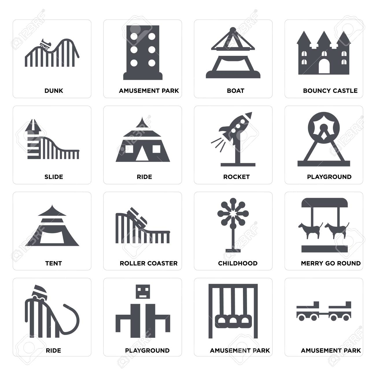 Set Of 16 icons such as Amusement park, Playground, Ride, Merry go round, DUNK, Slide, Tent, Rocket on transparent background, pixel perfect - 116181795