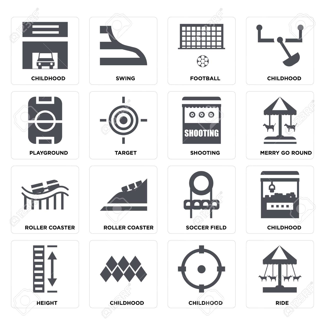 Set Of 16 icons such as Ride, Childhood, Height, Playground, Roller coaster, Shooting on transparent background, pixel perfect - 116181796