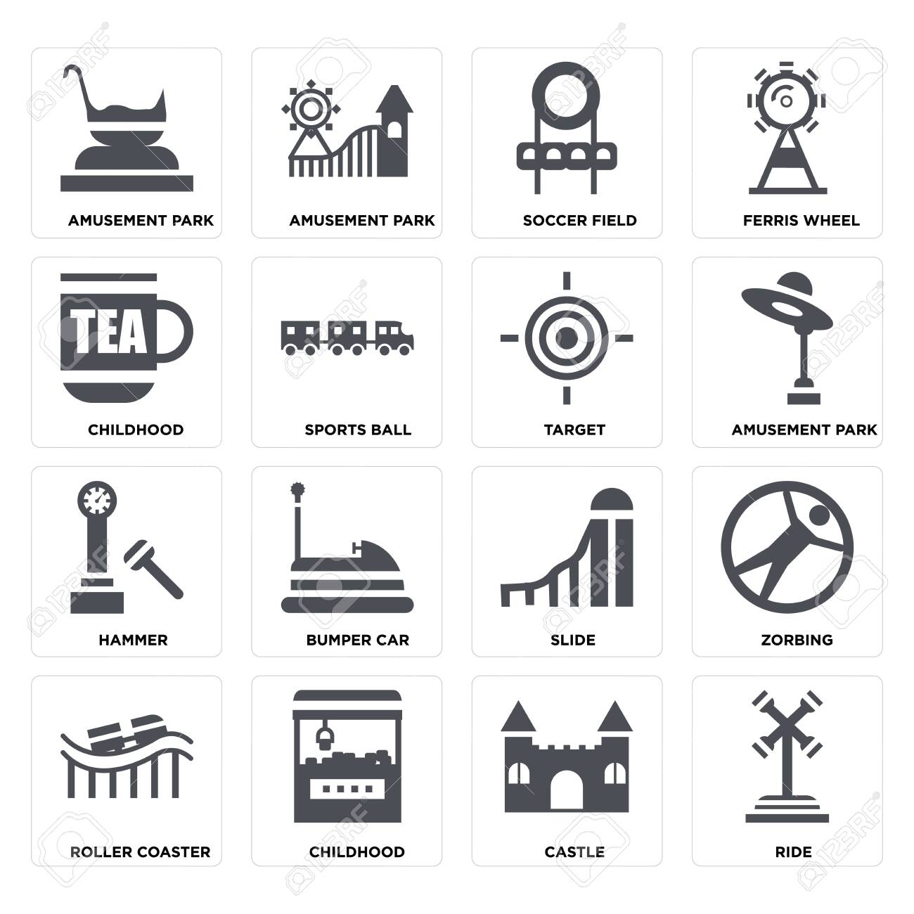 Set Of 16 icons such as Ride, Castle, Childhood, Roller coaster, Zorbing, Amusement park, Hammer, Target on transparent background, pixel perfect - 116181797
