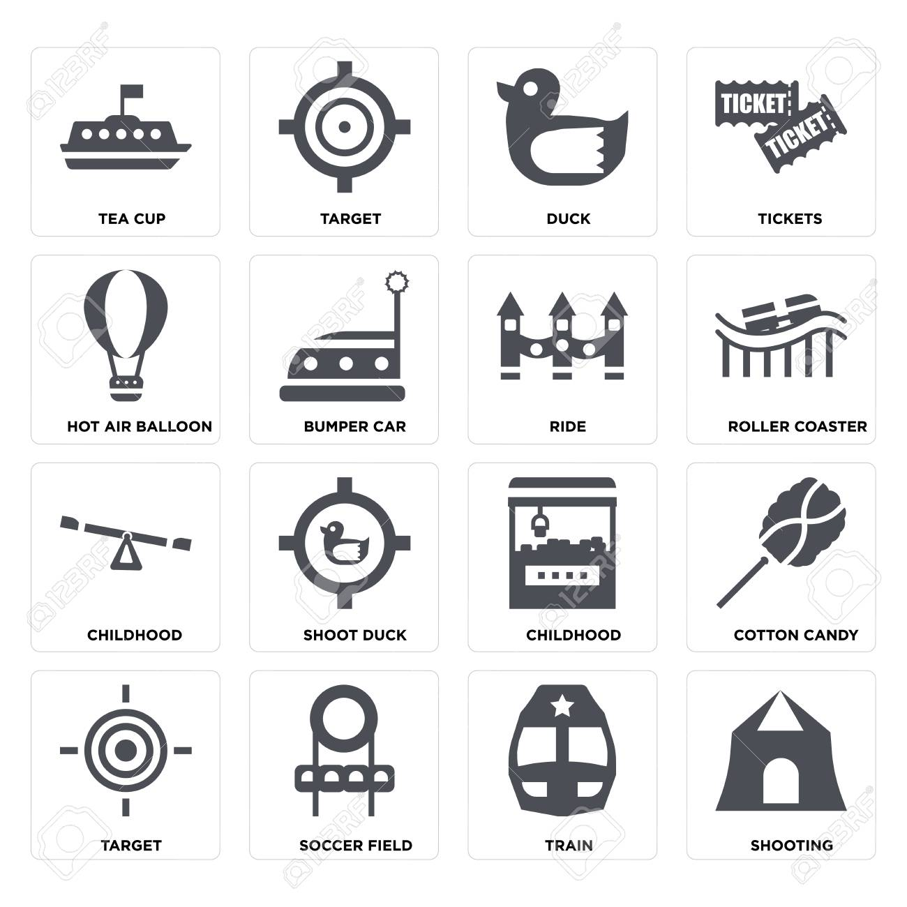 Set Of 16 icons such as Shooting, Train, Soccer field, Target, Cotton candy, Tea cup, Hot air balloon, Childhood, Ride on transparent background, pixel perfect - 116181799