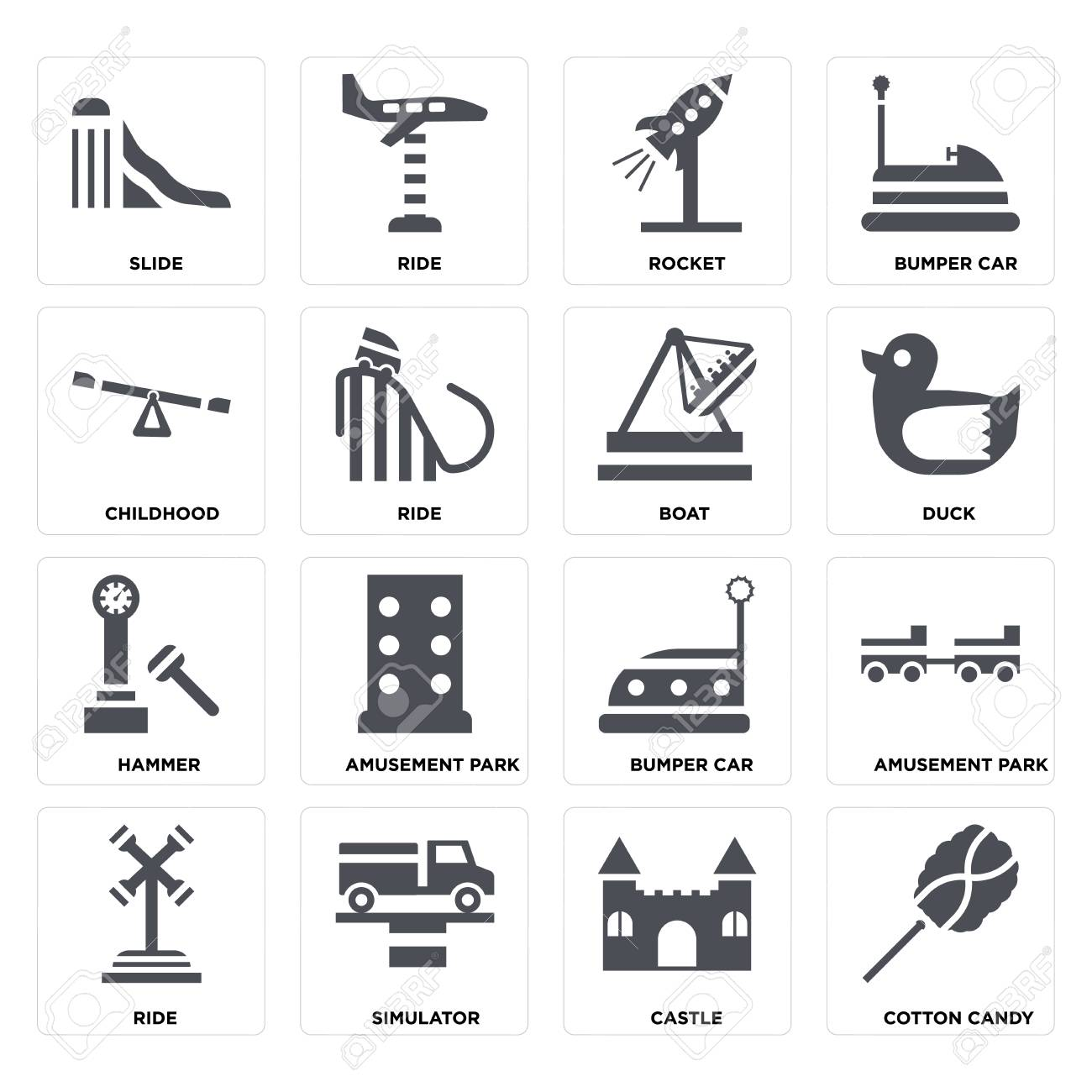 Set Of 16 icons such as Cotton candy, Castle, Simulator, Ride, Amusement park, Slide, Childhood, Hammer, Boat on transparent background, pixel perfect - 116181800