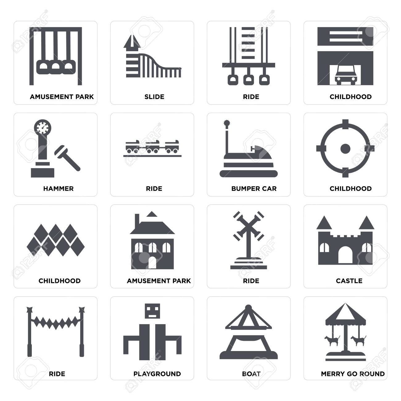 Set Of 16 icons such as Merry go round, Boat, Playground, Ride, Castle, Amusement park, Hammer, Childhood, Bumper car on transparent background, pixel perfect - 116181801