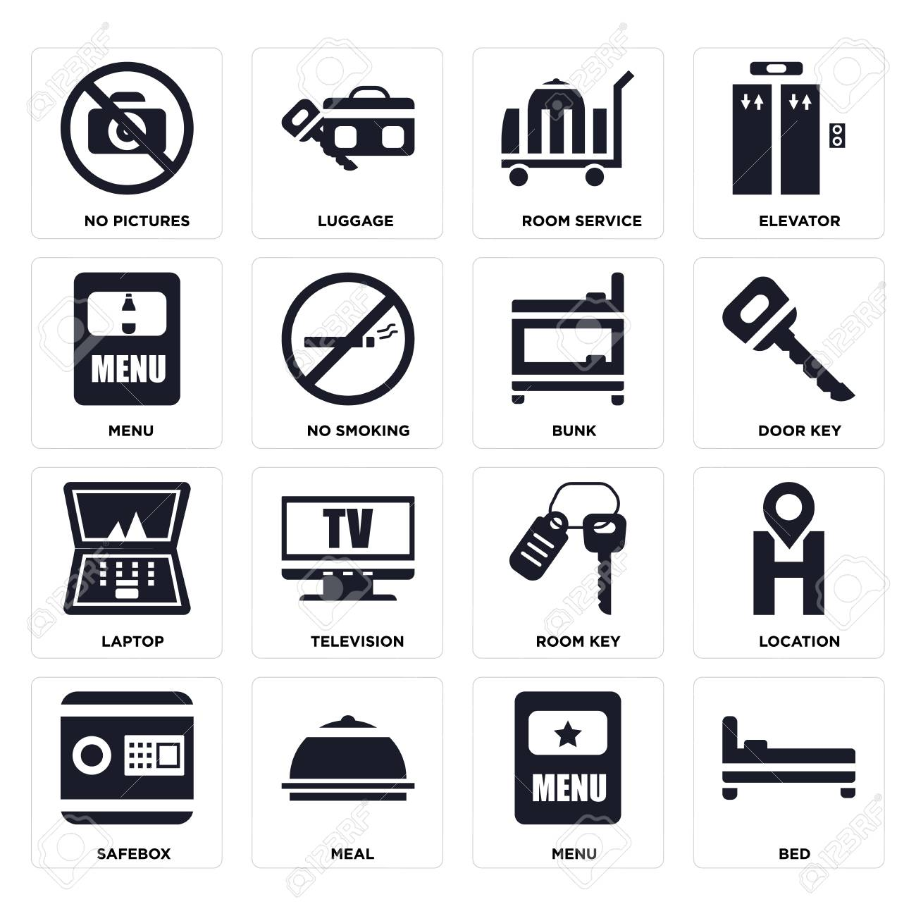 Set Of 16 icons such as Bed, Menu, Meal, Safebox, Location, No pictures, Laptop, Bunk on transparent background, pixel perfect - 116181804