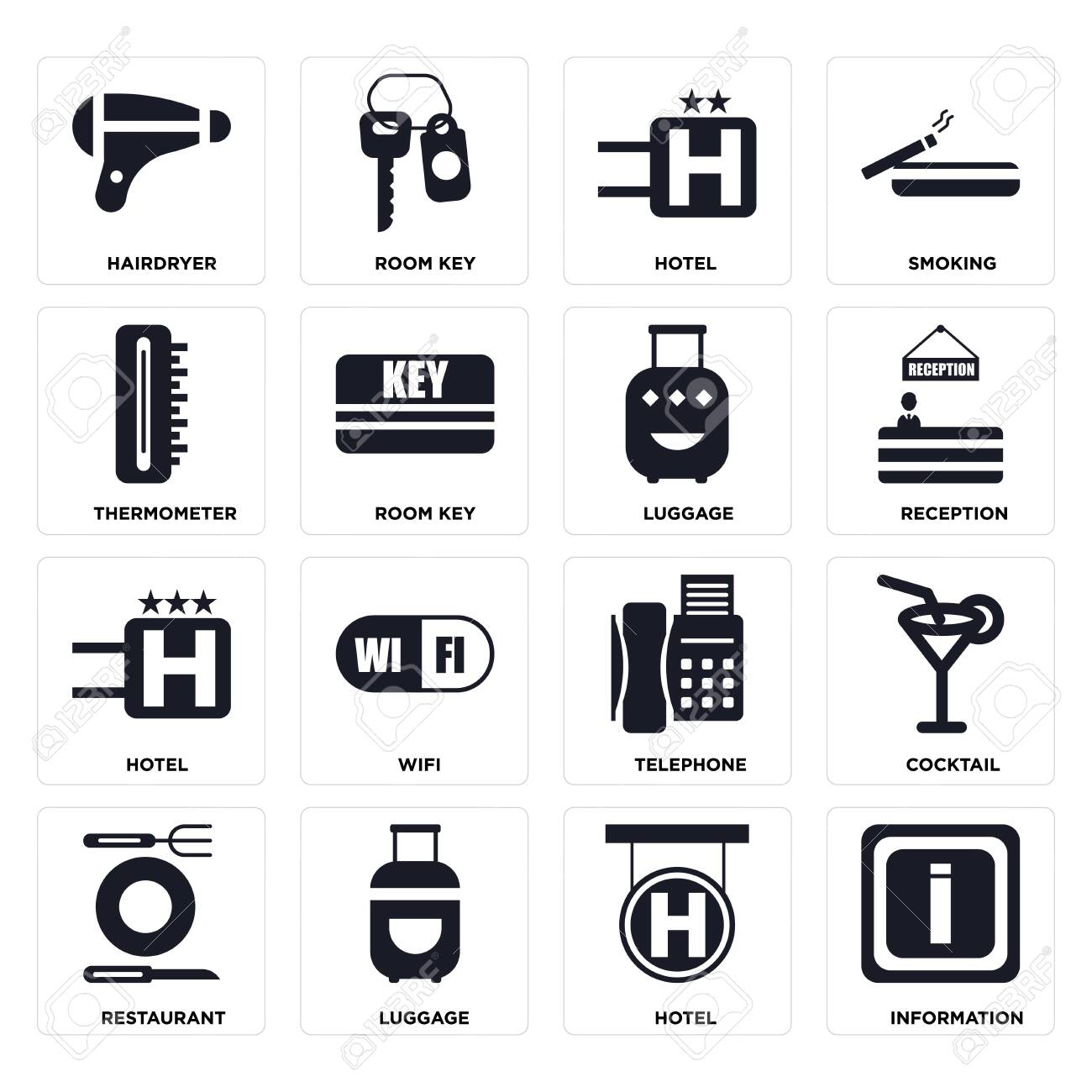 Set Of 16 icons such as Information, Hotel, Luggage, Restaurant, Cocktail, Hairdryer, Thermometer on transparent background, pixel perfect - 116181807