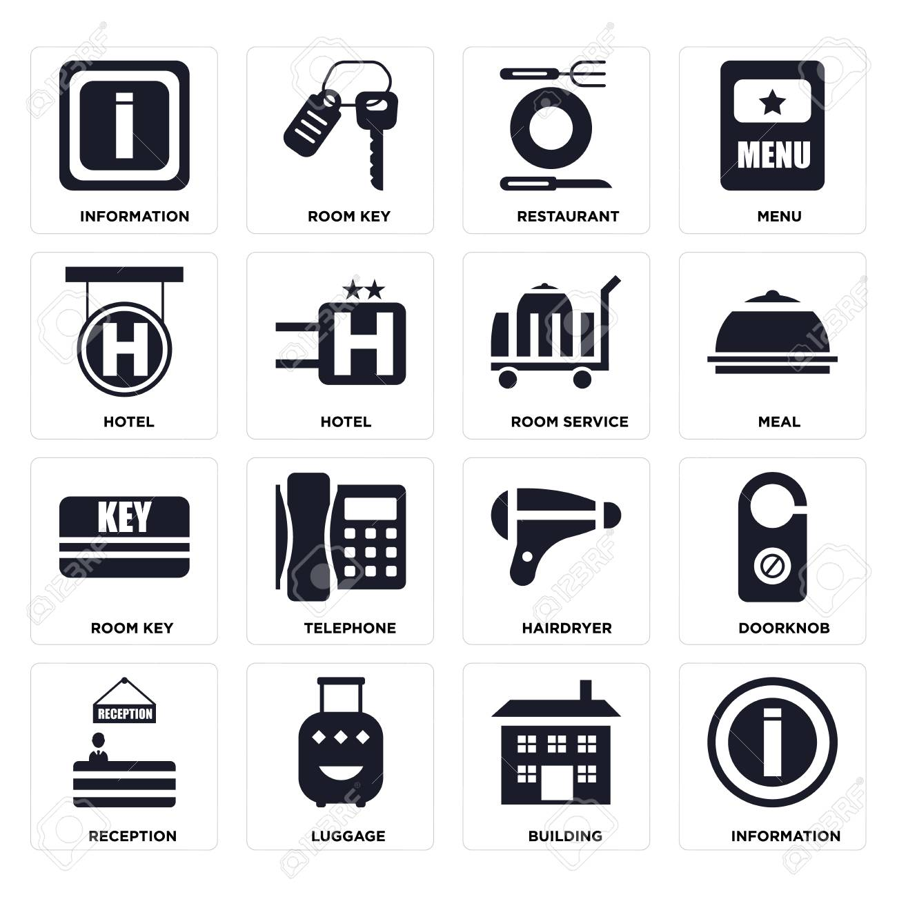 Set Of 16 icons such as Information, Building, Luggage, Reception, Doorknob, Hotel, Room key, service on transparent background, pixel perfect - 116184586