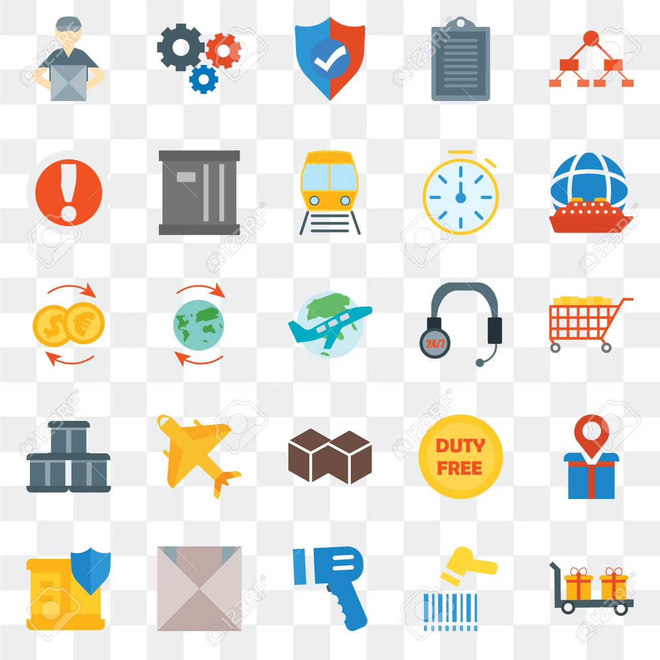 Set Of 25 transparent icons such as Delivery, Barcode scanner,