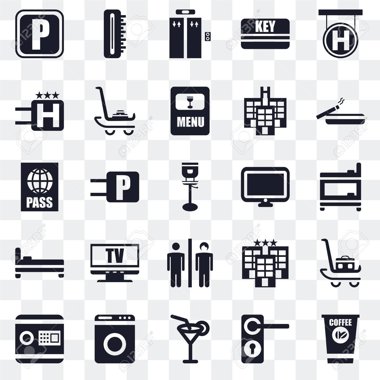 Set Of 25 transparent icons such as Coffee, Doorknob, Cocktail,