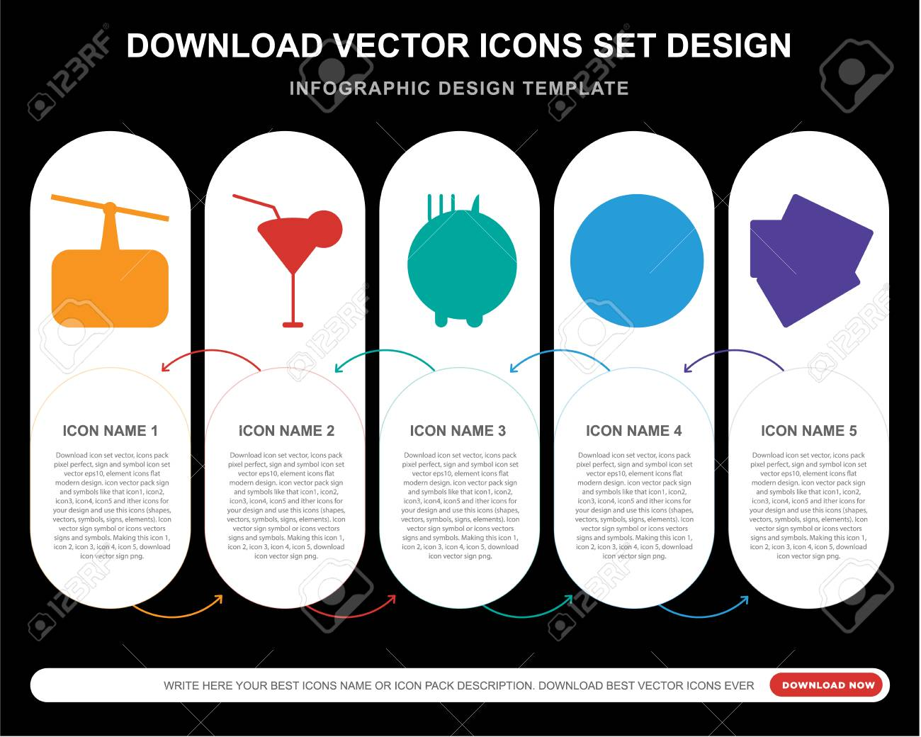 5 Vector Icons Such As Cableway Cocktail Restaurant Beach Royalty Free Cliparts Vectors And Stock Illustration Image 111886765