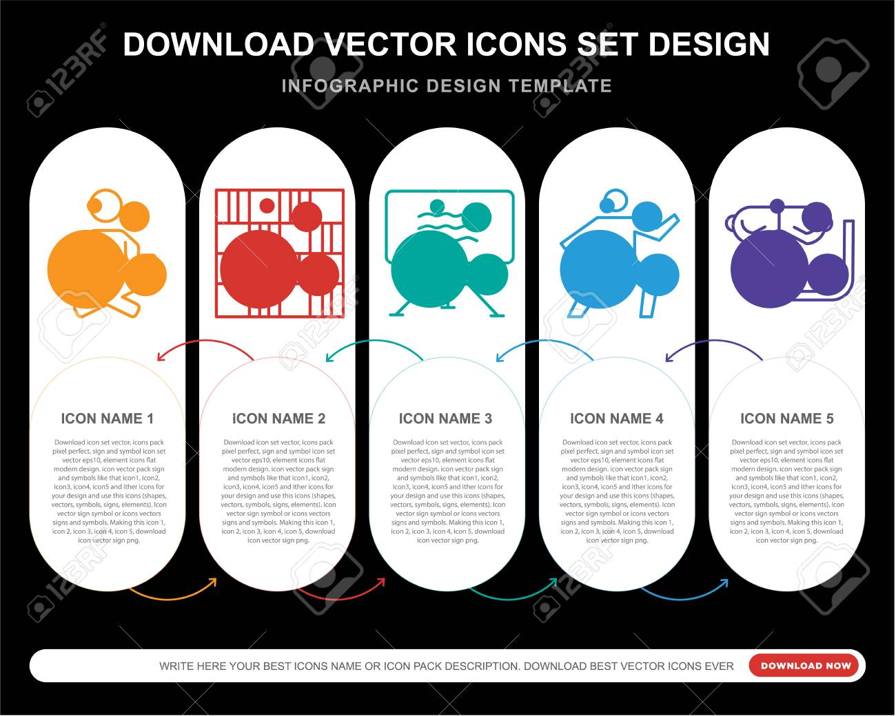 5 vector icons such as Yoga, Chess board, Canvas, Snorkel for