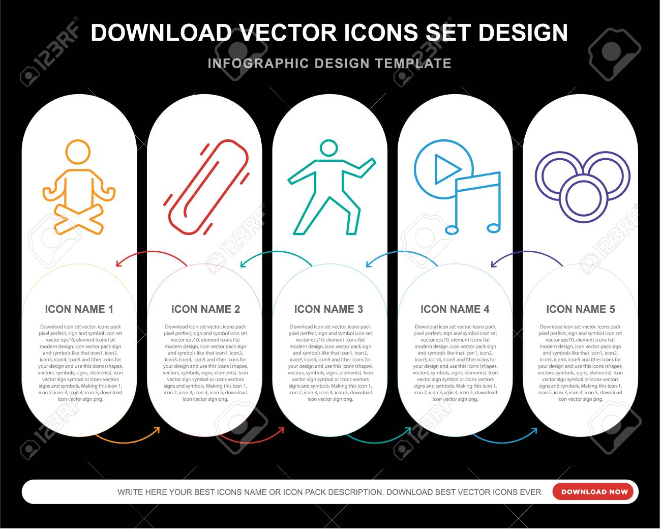 5 vector icons such as Yoga, Skateboard, Music player, Coins