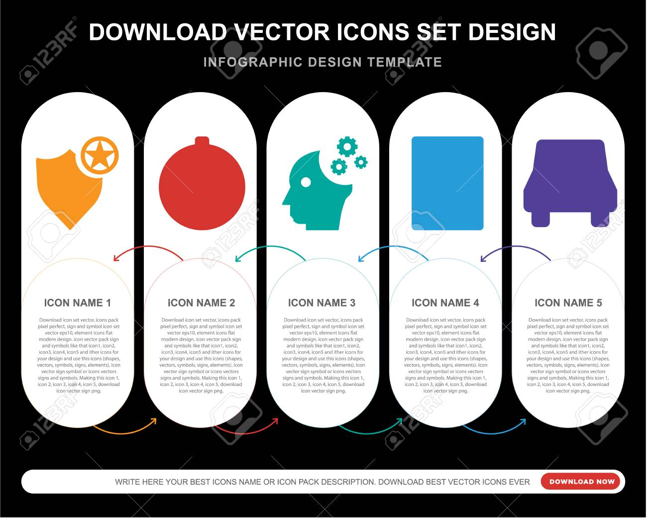 5 vector icons such as Shield, Compass, Mind, Calculator, Car