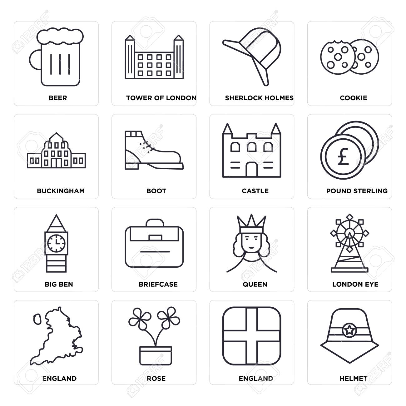 Set Of 16 Icons Such As Helmet England Rose London Eye Beer