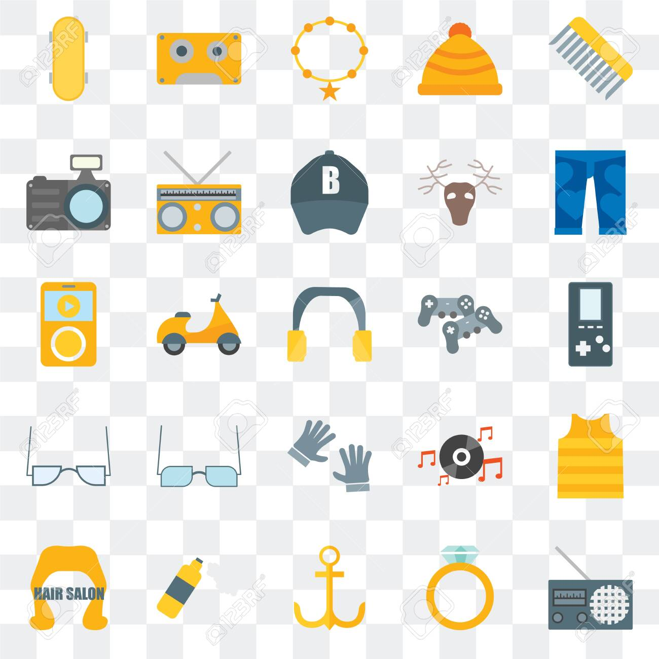 Set Of 25 transparent icons such as Radio, Accesory, Anchor, Foam, Hair salon, Clothing, Gamepad, Accessory, Photo camera, Music player, web UI transparency icon pack - 130332468