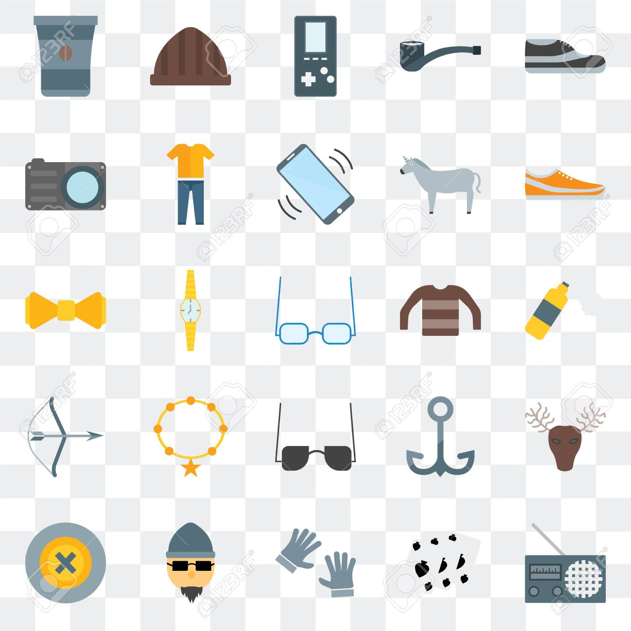 Set Of 25 transparent icons such as Radio, Leisure, Accessory, Hipster, Buttons, Sneakers, Long sleeves, Sunglasses, Archery, Photo camera, Accessory, web UI transparency icon pack - 130332470