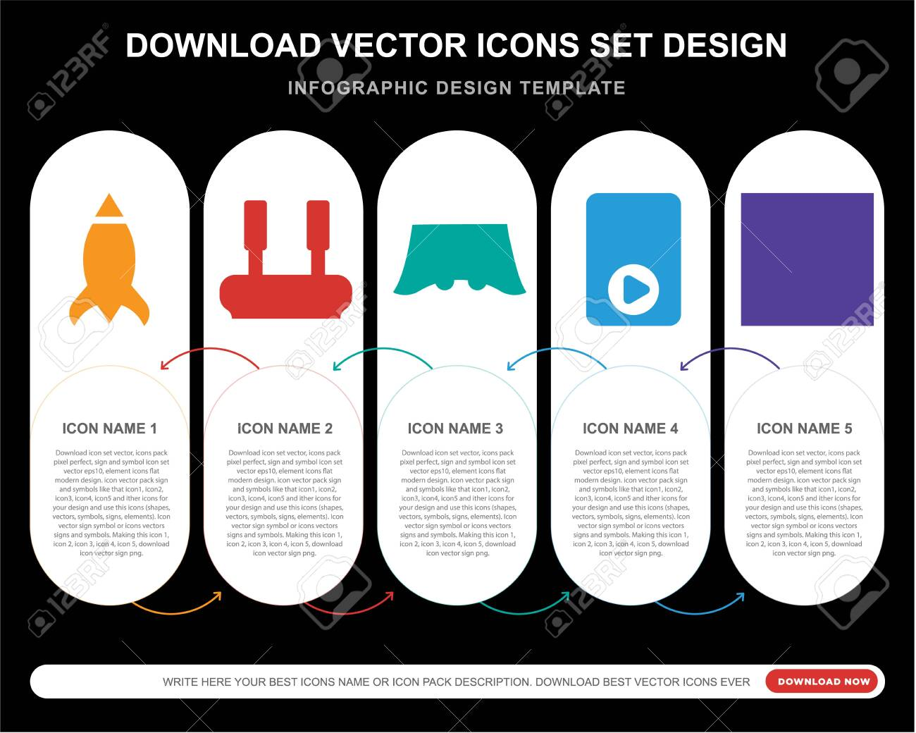 5 vector icons such as Missile, Joystick, Console, Die for infographic, layout, annual report, pixel perfect icon - 130332473