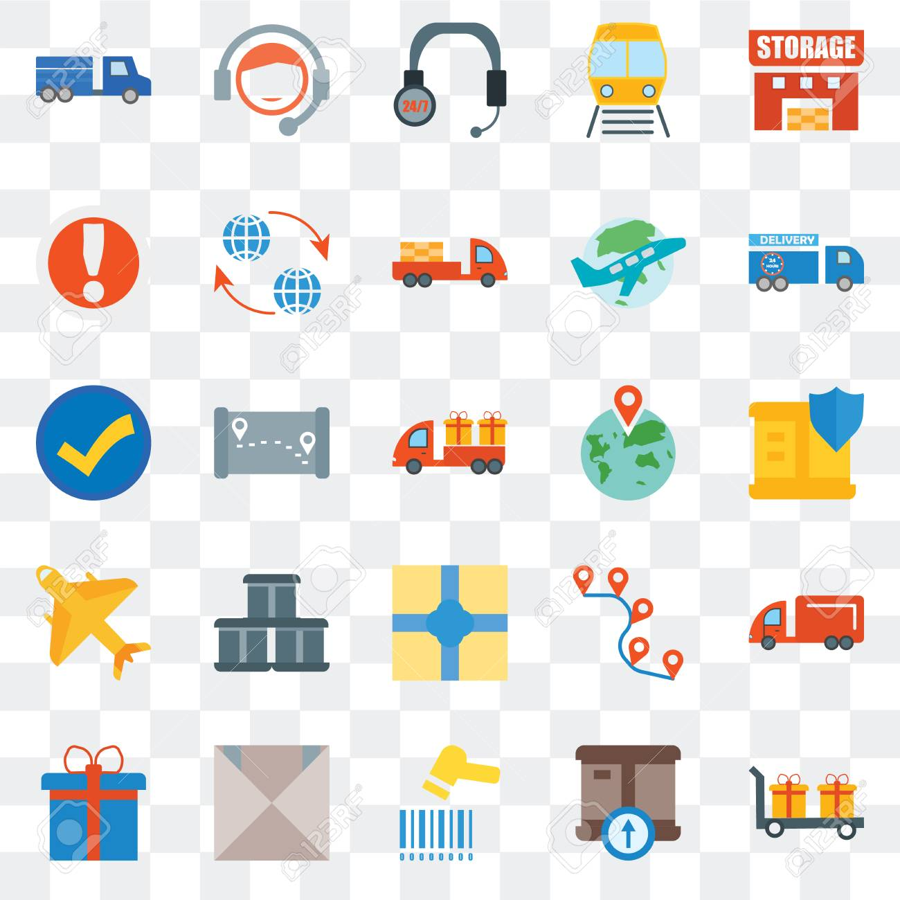 Set Of 25 transparent icons such as Delivery, Delivery box, Barcode