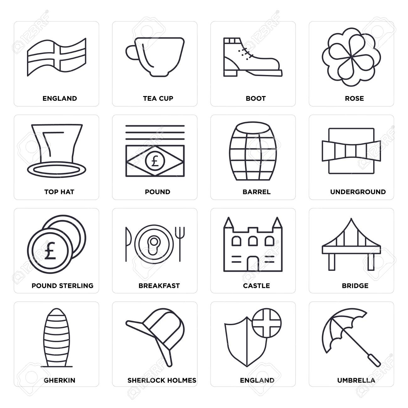 Set Of 16 icons such as Umbrella, England, Gherkin, Bridge, Top hat, Pound sterling, Barrel, web UI editable icon pack, pixel perfect - 130332477