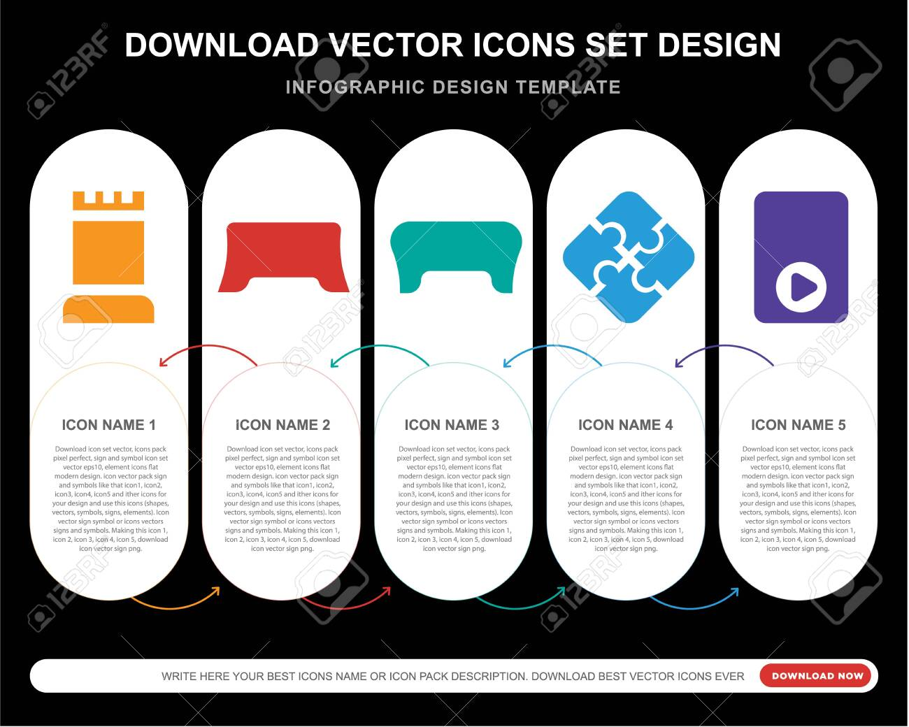 5 vector icons such as Tower, Gamepad, Jigsaw, for infographic, layout, annual report, pixel perfect icon - 130332480