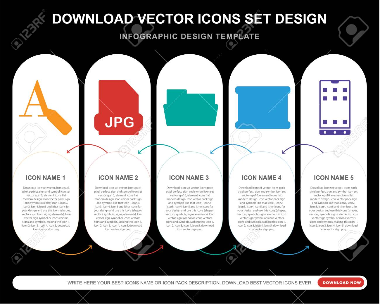 5 vector icons such as Text editor, Jpg, Folder, Map, Smartphone
