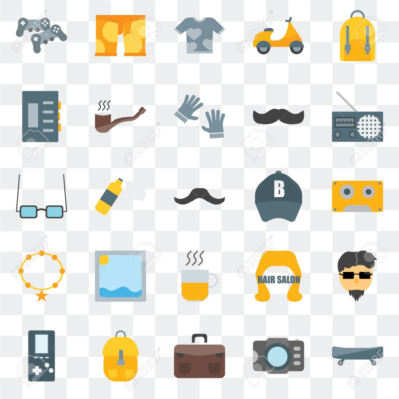 Set Of 25 transparent icons such as Boards, Photograph, Briefcase, Accessory, , Radio, Baseball cap, Hot drinks, Shirt, Clothing, web UI transparency icon pack - 130332484