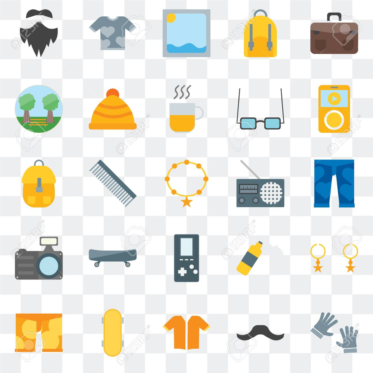 Set Of 25 transparent icons such as Accessory, Hipster, Short sleeves, Skateboard, Clothing, Radio, Photo camera, Garden, Picture, Shirt, web UI transparency icon pack - 130332486