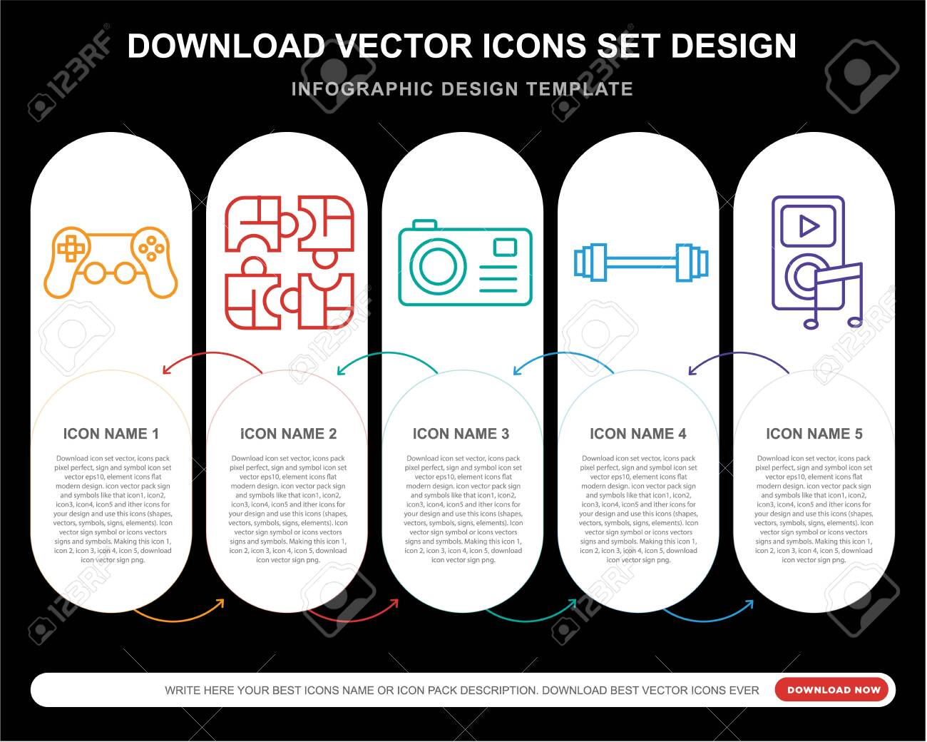 5 vector icons such as Video game, Puzzle, Photo camera, Weight, for infographic, layout, annual report, pixel perfect icon - 130332495