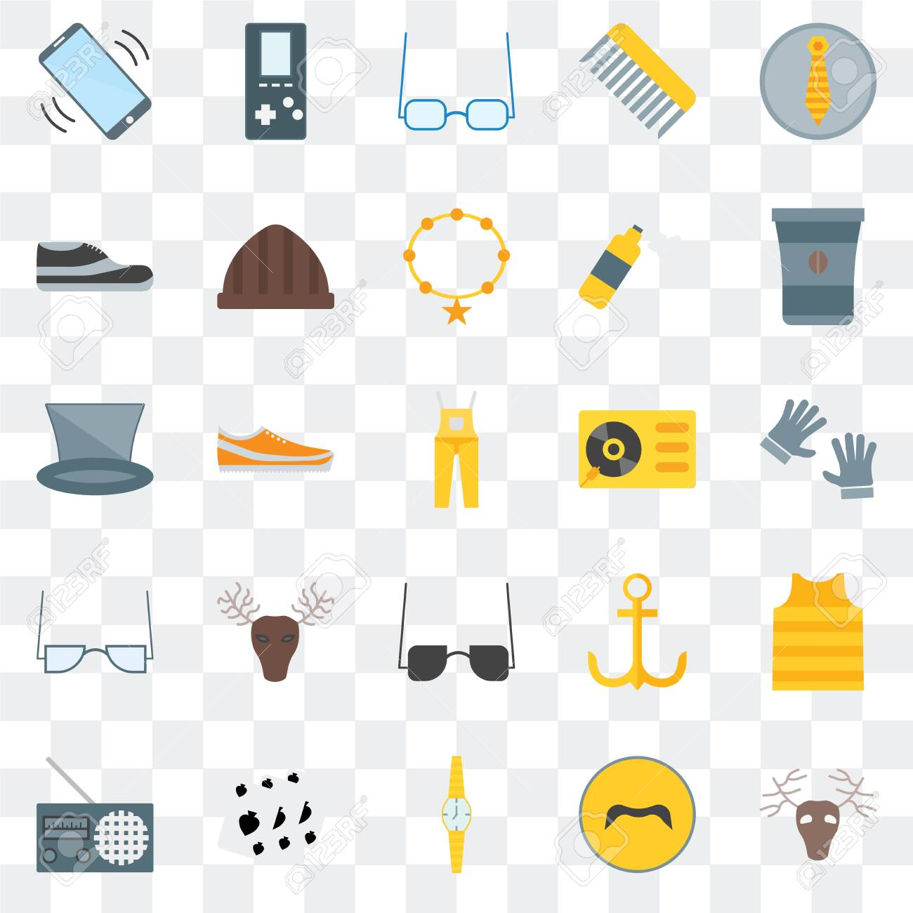 Set Of 25 transparent icons such as Deer, Mustache, Watch, Leisure, Radio, Coffee cup, Turntable, Sunglasses, Accessory, Footwear, web UI transparency icon pack - 130332532