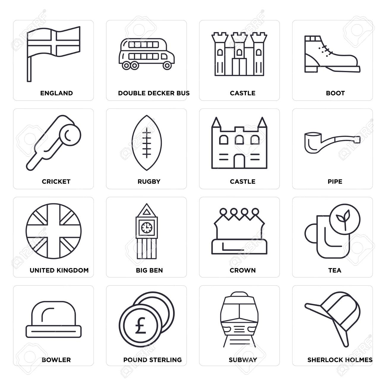 Set Of 16 icons such as Subway, Pound sterling, Bowler, Tea, England, Cricket, United kingdom, Castle, web UI editable icon pack, pixel perfect - 130332541