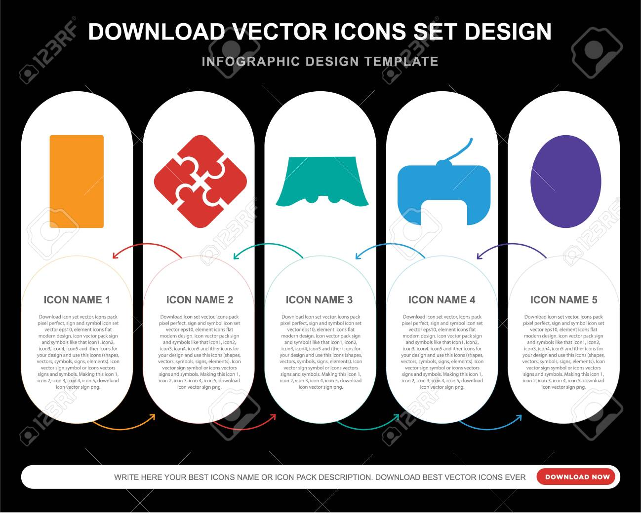5 vector icons such as Jigsaw, Console, Gamepad, Football pitch for infographic, layout, annual report, pixel perfect icon - 130332548