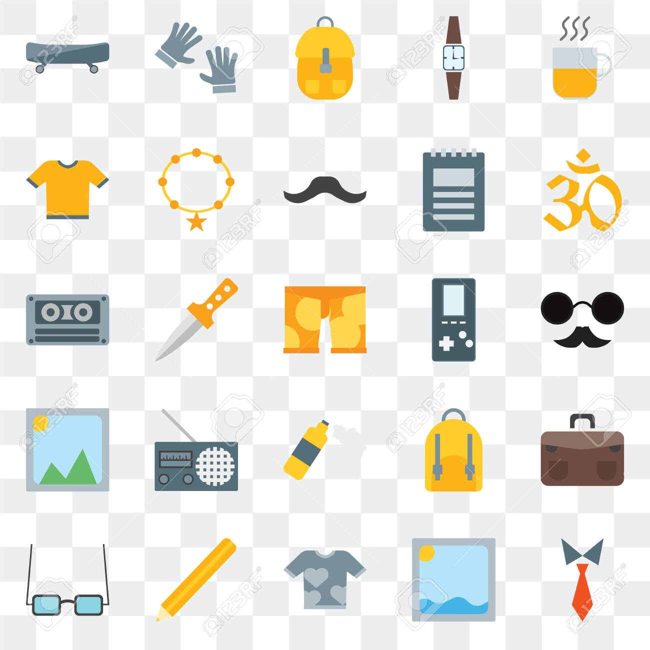 Set Of 25 transparent icons such as Tie, Picture, Shirt, Pencil, Accessory, Indian, Foam, Accessory, web UI transparency icon pack - 130332550