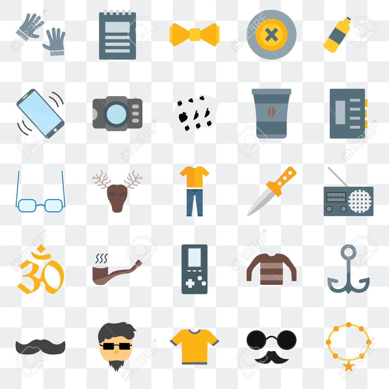 Set Of 25 transparent icons such as Accessory, Hipster, Shirt, Mustache, Dagger, Indian, Phone call, Bow tie, Notepad, web UI transparency icon pack - 130332571